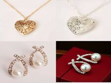 Newly Fashion Women Hollow Gold Silver Heart Pendant Long Chain Necklace&Earring