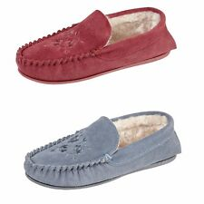 Ladies Fur Lined Suede Leather Moccasin Slippers Blue or Burgundy Sizes 3 to 8