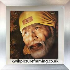 """Sai Baba Of Shirdi Modern Artwork Photo Picture Framed In Size -16"""" x 16"""" Inches"""