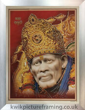 """Sai Baba Of Shirdi Picture Photo Framed - 20"""" x 14"""" Inches 