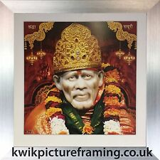 "Shirdi Sai Baba Of Hindu God Photo Picture Framed in Size - 10"" X 10"" Inches"