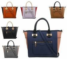 Womens Ladies Bag Faux Leather Zip Fashion Bucket Shoulder Handbag