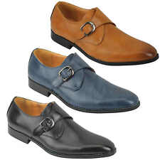 Mens Formal Classic Single Monk Strap Leather Shoes Smart Casual Black Tan Blue