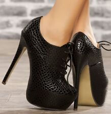 Ladies Black High Stiletto Heel Booties Lace Up Shoe Ankle Boots Shoes UK 2 - 7