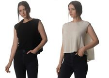 Kit and Ace Ladies Black Natural Cropped Cape Top Tee T-shirt with Cashmere NWT
