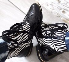 WOMENS ZEBRA PRINT MILITARY  ARMY COMBAT ANKLE BOOTS LACE UP FLAT BIKER ZIP SHOE