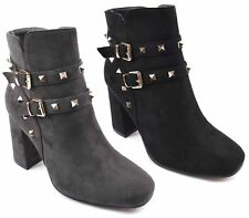 Womens Faux Suede Smart Studs Studs Party High Block Heel Ladies Zip Ankle Boots