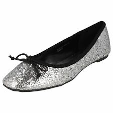 Spot on F8894 Ladies Silver Flat shoes pumps with Bow detail  (32A) (Kett)