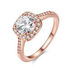 Ladies 18k Rose Gold Plated Engagement Ring Cushion Cut Cz Set Solitaire Wedding