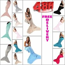 Mermaid Tail Fish Handmade Cocoon Quilt Sofa Knit Rug Crocheted Lapghan Blanket