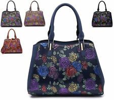 LADIES ROSE PRINT TOTE SHOULDER BAG FLOWER TOTE PARTY EVENING OCCASION HANDBAG