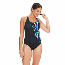 Zoggs Women Broulee Flyback Swimming Costume Black / Blue in UK Sizes 8 - 18