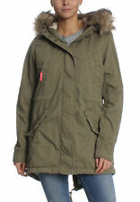 Superdry Parka Mujer Pesado Weather ROOKIE FISHTAIL Deepest Ejército