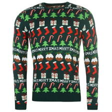 MENS GREEN STAR FAIRISLE XMAS CHRISTMAS TREE PRESENT PUDDING KNIT KNITTED JUMPER