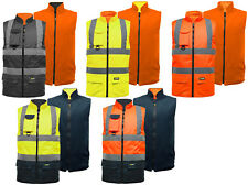 Hi Vis Visibility Reversible Fleece Lined Bodywarmer Safety Gilet Vest