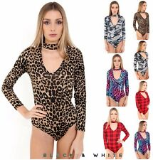 Ladies Women Long Sleeve Chocker V- Neck Printed Sexy Bodysuit Leotard Top