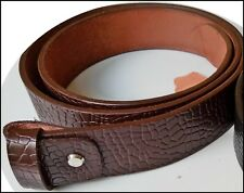 Men,s Genuine Leather Crocodile Style Belt Snap On Strap No Buckle 1.5 Inch Wide