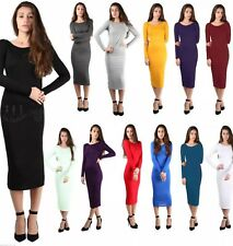 LADIES-WOMENS-LONG-SLEEVE-STRETCH-BODYCON-PLAIN-JERSEY-MIDI-MAXI-DRESS-PLUS-SIZE