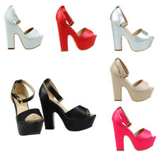 WOMENS ANKLE STRAP LADIES PLATFORM CHUNKY HIGH HEEL SANDALS SHOES SIZE UK 3-8