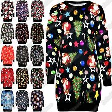 New Ladies Xmas Tree Santa Fleece Knitwear Christmas Long Jumper Shift Dress