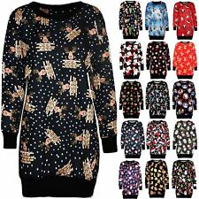 New Ladies Xmas Reindeer Santa Elf Christmas Fleece Knit Jumper Tunic Mini Dress