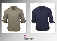 Mens shirts Ex-MAX Long Sleeve 100% Cotton Casual Shirts two chest pockets