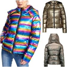Womens Metallic Shiny Winter Parka Padded Puffer Hooded Ladies Jacket Coat Gift