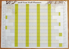 A2 2018 Year Wall Planner chart with U.K. public holidays & 2018/19 calendars