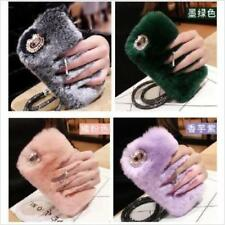 Bling Ring Holder Stand Diamond Warm Rabbit Fur Furry Case For Sumaung & iPhone