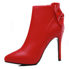 Girls Womens Pointed Toe Stiletto High Heel Sexy Party Ankle Boots Shoes Zip