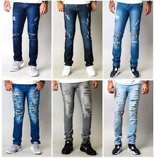 Mens Denim Pants Casual Destroyed Frayed Slim Skinny Fit DISTRESSED RIPPED JEANS