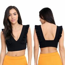 Womens Frill Ruffle V Neck Plunge Crepe Backless Sleeveless Bralet Crop Top
