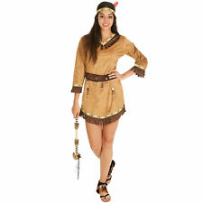 Costume da Donna Sexy Indiana Apache Far West Vestito Carnevale Halloween Adulti