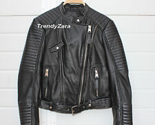 NEW ZARA SS17 LEATHER BIKER MOTORCYCLE JACKET 5479/005 CHAQUETA CAZADORA PIEL