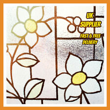 Blue Tinted Flower 3D Embossed Textured Static Window Film Frosted Glass PVC