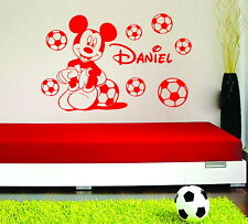 Football Personalised Boys Name  Mickey Mouse With Vinyl Wall Sticker Footballs