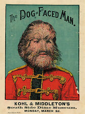' The Dog Faced Man FREAK SHOW Carnevale POSTER' LATTA insegne. STRANGE