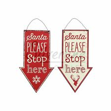 Personalised Sign Hanging 'Santa Please STOP Here' Message Christmas Decoration