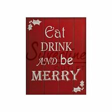 Eat, Drink And Be Merry? Food Sign Wall Frame Plaque Christmas Reminder Gift