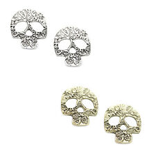 NEW Large Mexican Sugar Skull Earrings, Day Of The Dead Rockabilly Goth Earrings