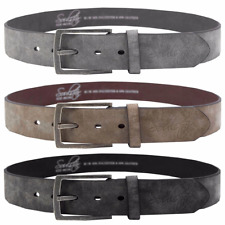 Mens Soulstar Vintage Brushed Metal Buckle Suede Leather Belt Size BNWT