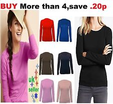 Womens Long Sleeve Stretch Plain Round Scoop Neck T Shirt Top High Quality rn