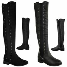 LADIES WOMENS OVER THE KNEE THIGH HIGH STUDS FLAT LOW HEEL STRETCH BOOTS SIZE