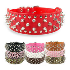 2.0'' Wide Spiked Studded Dog Collars Soft PU Leather for Medium Large Dog Boxer