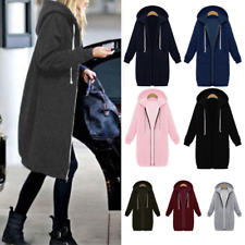 Women Ladies Long Sleeve Hooded Zipper Hoodies Casual Thick Jumper Outwear Tops