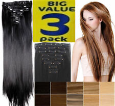 Hair Extensions SUPER 3 PACK DEAL real Thick Full Head feels same Human Blonde