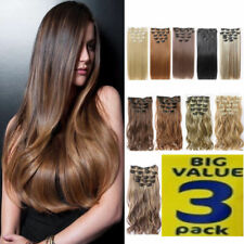 Hair Extensions SUPER 3 PACK DEAL real Thick Full Head feels same Human Ginger