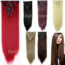 Red Full Head Hair Extensons Silky Straight Extensions human feel synthetic Hair