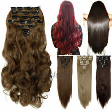 Red Full Head Hair Silky Straight Extensions human feel synthetic Hair Extension