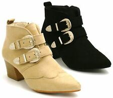 Womens Ladies Western Low Mid Heel Chelsea Ankle Boots Buckle Casual Shoes Size